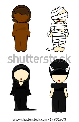 Illustration of halloween costumes Girls on white background - stock photo