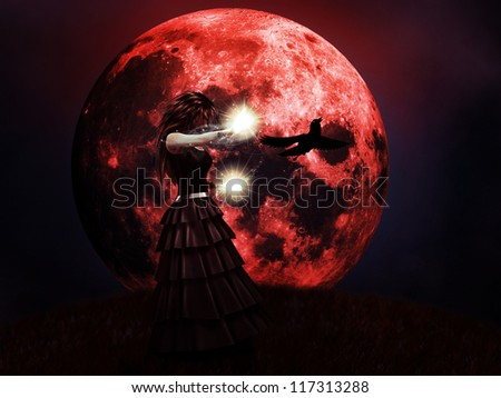 Illustration of halloween red full moon and witch background.