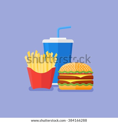 Illustration of hamburger, french fries and soda takeaway. Fast food. Flat style.
