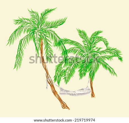 Illustration of hammock hanging on two palms in watercolor style isolated on the white background - stock photo