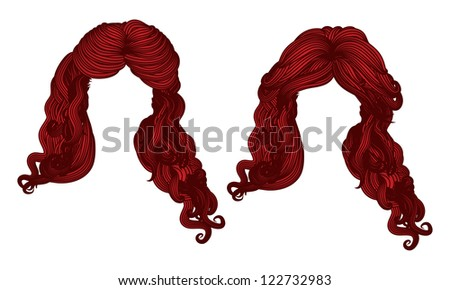 Illustration of hand drawn curly hair style of red color.