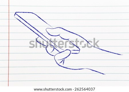 illustration of hand holding a smartphone or mobile phone