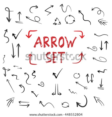 Illustration of Handdrawn Arrow Set Isolated on White Background. Watercolor Ink Hand Made Style Arrow Set