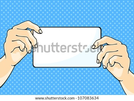 Illustration of hands holding a paper sheet (raster version) - stock photo