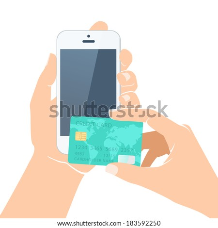 Illustration of  Hands holding credit card and smartphone - stock photo