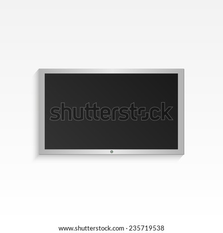 Illustration of hanging flat-panel television on a light background. - stock photo