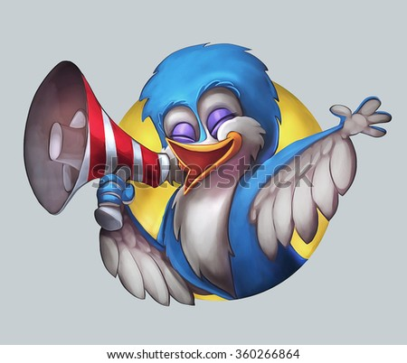 Illustration of happy bird calling through a blow horn