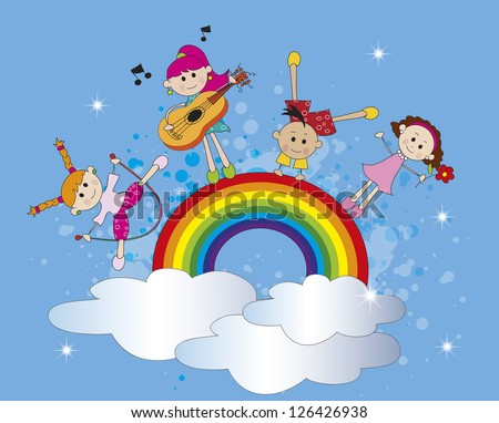 illustration of happy children on a rainbow - stock photo