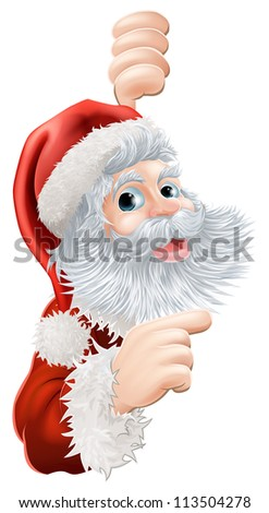 Illustration of happy Christmas Santa Claus peeping round and pointing - stock photo