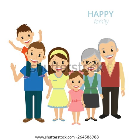illustration of happy family. Smiling dad, mom, grandparents and two kids isolated on white - stock photo