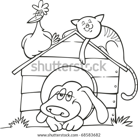 Illustration of Happy farm animals for coloring book - stock photo