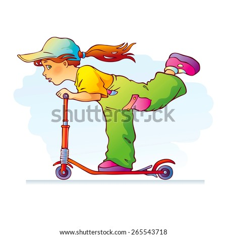 Illustration of happy girl riding scooter