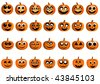 Illustration of happy pumpkin faces for Halloween. Vector version is available. - stock photo