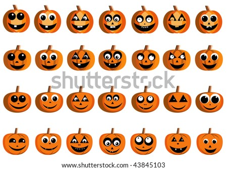Illustration of happy pumpkin faces for Halloween. Vector version is available.