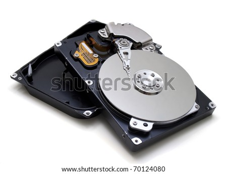 Illustration of Hard disk drive HDD isolated on white background with soft shadow. - stock photo