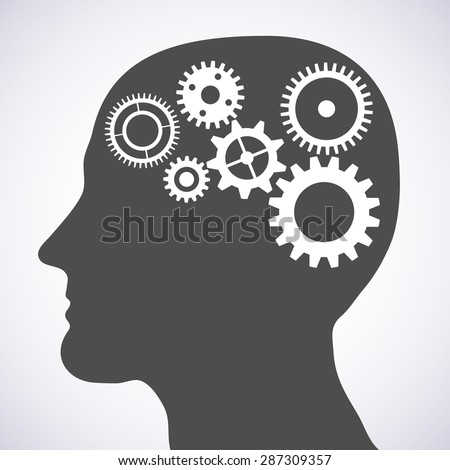 Illustration of head silhouette with gears mechanism as brains.