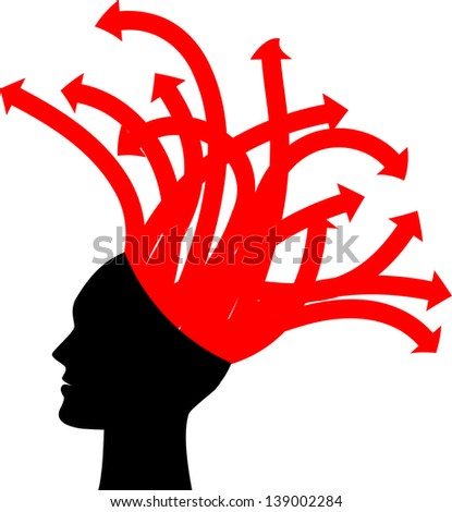 Illustration of head with red arrows - stock photo