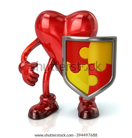 Illustration of heart character and puzzle shield with red and yellow pieces  isolated on white background - stock photo