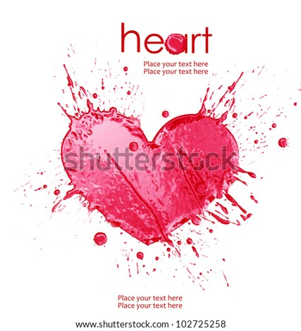 Illustration of heart from watercolor splash of paint,isolated on a white background. - stock photo