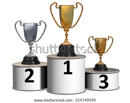 Illustration of highly polished trophies on a podium showing first, second and third places  - stock photo