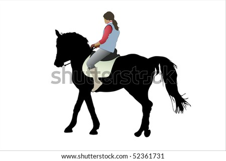 illustration of horsewoman and the horse under the white background - stock photo