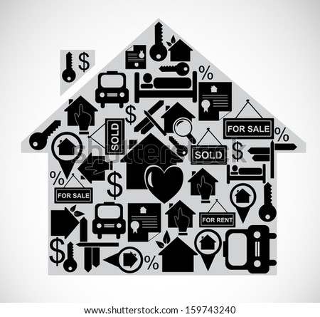 Illustration of house made of real estate icons.  - stock photo