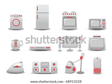 illustration of Household Appliances icons. You can decorate your website, application or presentation with it. - stock photo