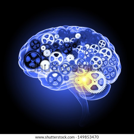 Illustration of human brain with cogwheel mechanisms - stock photo