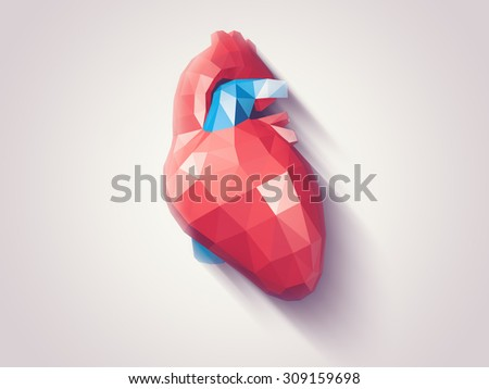 Illustration of human heart with faceted low-poly geometry effect - stock photo