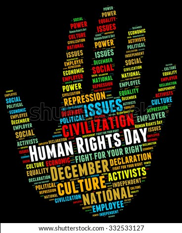 Illustration of Human Rights Day concept in modern word cloud. The date was chosen to honor the United Nations General Assembly's adoption and proclamation, on 10 December 1948