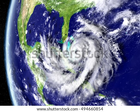 Illustration of hurricane Matthew approaching Florida in America. 3D illustration. Elements of this image furnished by NASA