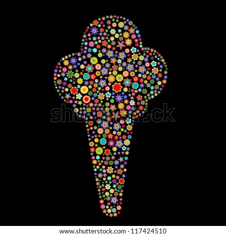 illustration of ice cream shape  made up a lot of  multicolored small flowers on the black background