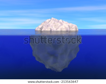 Illustration of iceberg above and below the level of ocean