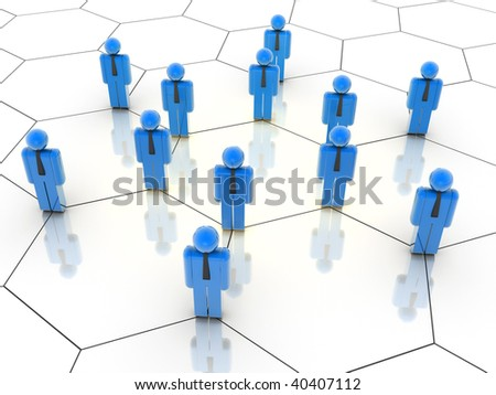Illustration of icon people arranged in a network