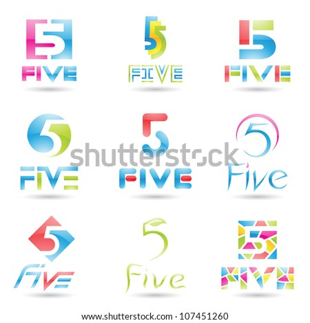 illustration of Icons for number five isolated on white background