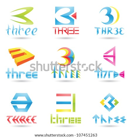 illustration of Icons for number three isolated on white background