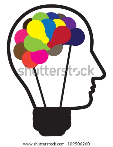 Illustration of idea light bulb as human head creating ideas shown by multicolor bulbs in shape of brain. Also can be used as concept for problem solving and out of the box thinking. - stock photo