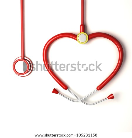 illustration of image of heart shaped stethoscope - stock photo