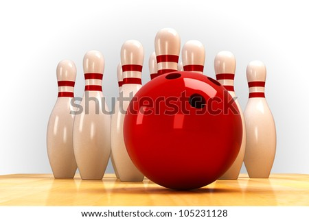 illustration of image of skittle and bowling ball on wooden floor - stock photo