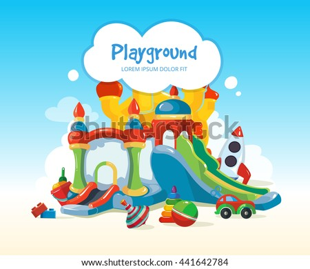 illustration of inflatable castles with children hills and toys on playground. - stock photo