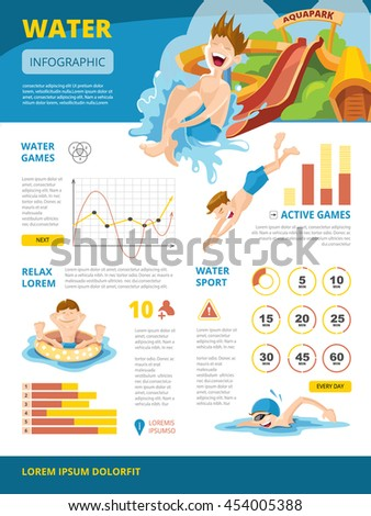 illustration of infographics about water games. symbols and charts. Infographic with place for your text - stock photo