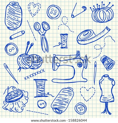Illustration of ink sewing doodles on squared paper - stock photo