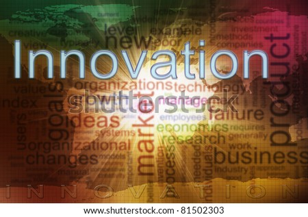 Illustration of innovation wordcloud. Concept of creativity and innovation - stock photo