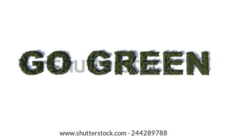 Illustration of inscription Go Green made from green trees - stock photo