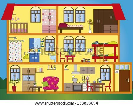 illustration of interior of house - stock photo