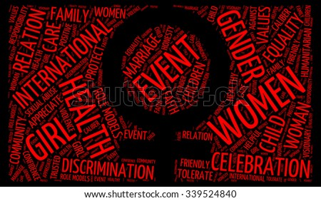 Illustration of International Day for the Elimination of Violence against Women concept in modern art word cloud tag - stock photo