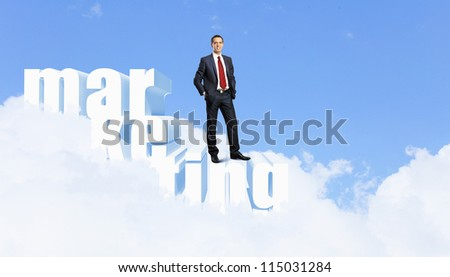 Illustration of investment and finance strategy concept with business person - stock photo