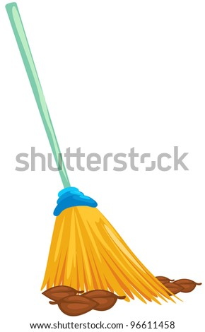 illustration of isolated a broom with dead leaves on white - stock photo