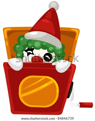 illustration of isolated a christmas box toy on white background - stock photo