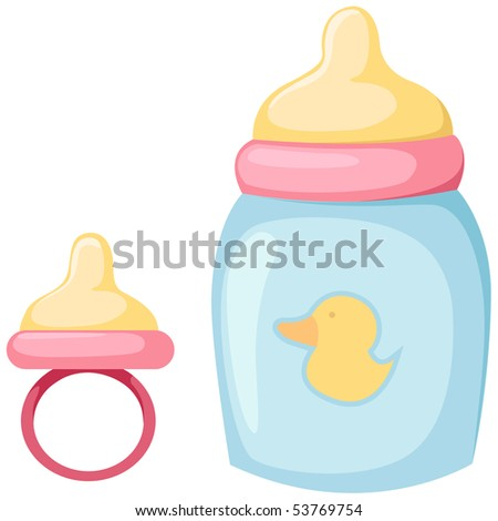 illustration of isolated baby bottle and pacifier on white - stock photo